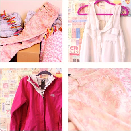Rainy day fashion essentials: White top, pink pattern pants, magenta rain jacket