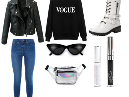 white boots set with black sweater, holographic fanny pack, leather jacket, blue jeans, cat eye sunglasses, black lipstick, and metallic eye shadow.