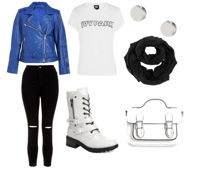 white boots for going to class with blue leather jacket, white ivy park shirt, white purse, black infinity scarf, silver earrings, and black jeans.