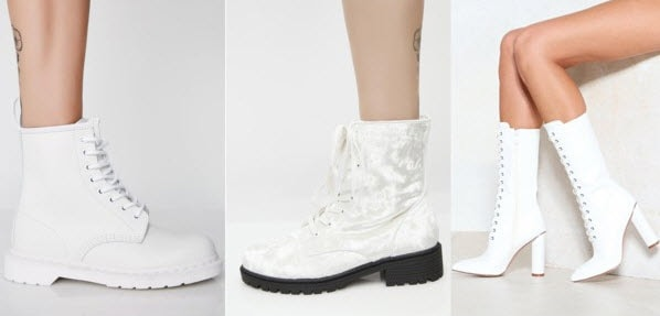 White velvet boots from Dolls Kill, white boots from Dr. Marten, and Nasty Gal.