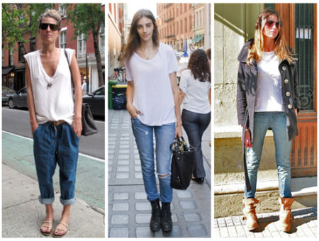 White tee and jeans street style looks