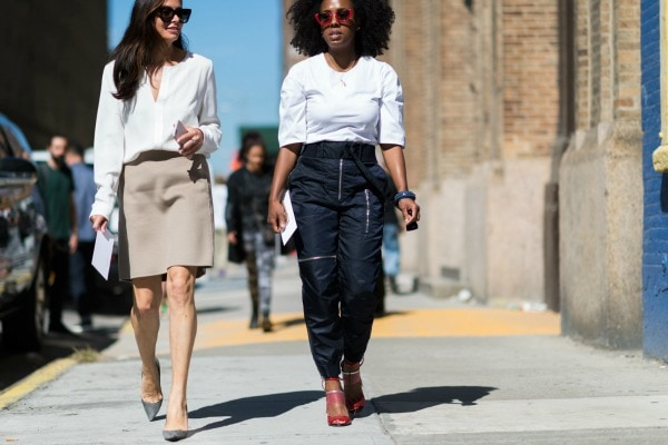 streetstyle with white blouses