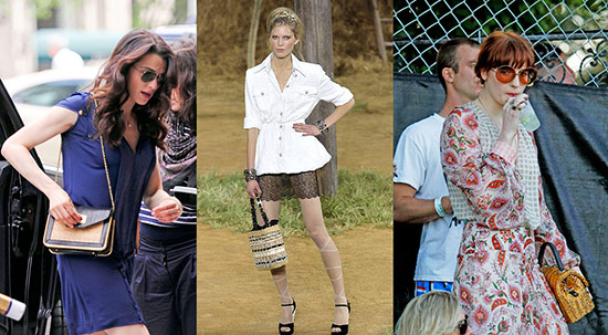 Wicker and straw handbags on celebs and the Chanel runway