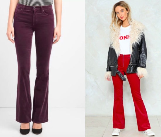 Wide leg corduroy jeans from left to right: berry purple fitted flare jeans from Gap and bright red high-waisted flare jeans from Nasty Gal.