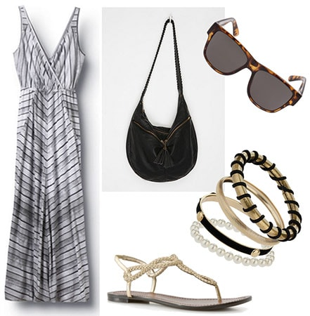 Outfit for broad shoulders - maxi dress with thick straps and a low neck, sandals, slouchy bag, bangles, sunglasses