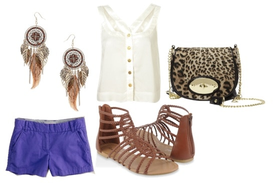 Wild Child outfit - white tank, blue shorts, gladiator sandals