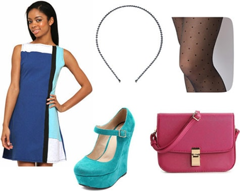Outfit inspired by Winnie Cooper from The Wonder Years: Mod colorblock dress, mary-jane shoes, cross-body bag, headband
