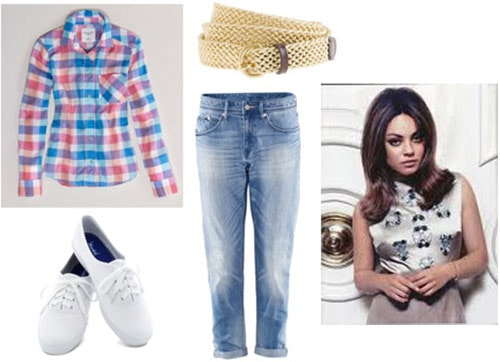 Outfit inspired by Winnie Cooper from The Wonder Years: Boyfriend jeans, plaid shirt, sneakers, mod hair