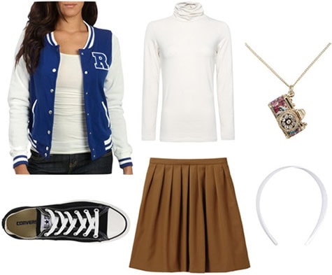 Outfit inspired by Winnie Cooper from The Wonder Years: Varsity jacket, pleated skirt, turtleneck, Converse sneakers