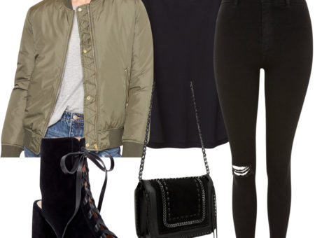 Winnie Harlow Outfit: black crew neck t-shirt, black ripped knee skinny jeans, an olive green bomber jacket, black lace-up booties, and a black leather and silver chain crossbody bag