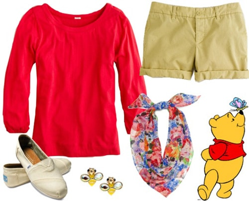 Outfit inspired by Winnie the Pooh - Red top, khaki shorts, scarf, toms