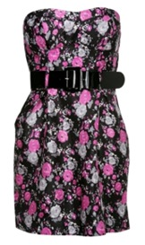 Winter floral dress with belt