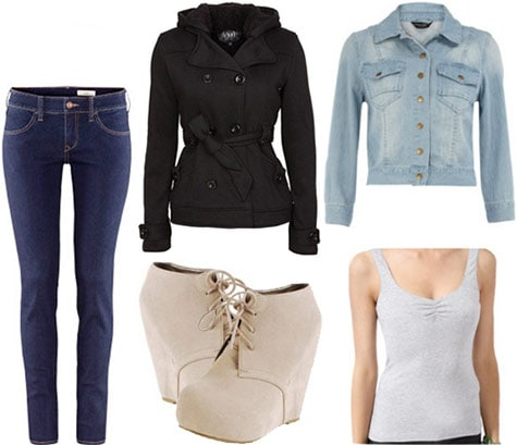 Layered outfit 1: Denim jacket and tank layered under a coat, with ankle booties and jeans