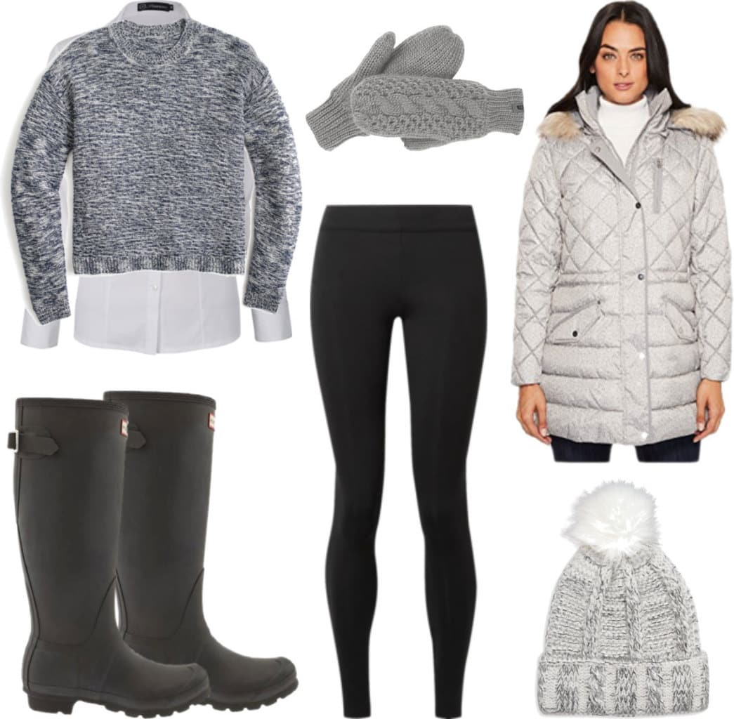 Winter outfit with black leggings, black Hunter boots, gray parka, gray sweater over a white button-down shirt, gray pom pom hat and gray mittens