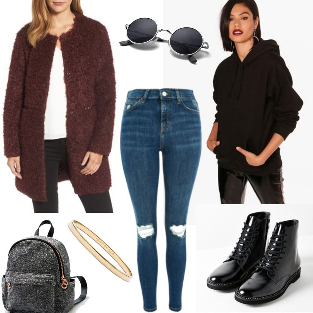 Eclectic winter outfit idea: Red faux fur coat, ripped jeans, black oversized hoodie, gray mini backpack, gold bracelet, studded combat boots in black, black circle sunglasses