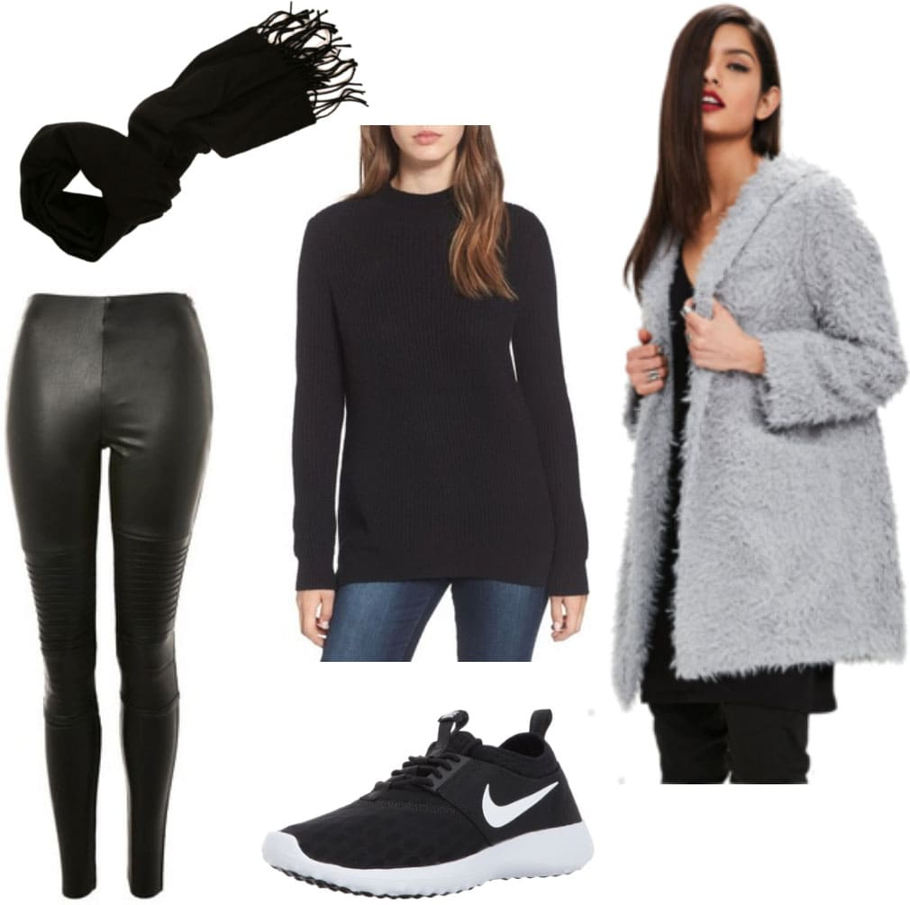 Winter outfit idea for edgy style: Faux leather pants, Nike black sneakers, black tunic sweater, black scarf, faux fur jacket in gray