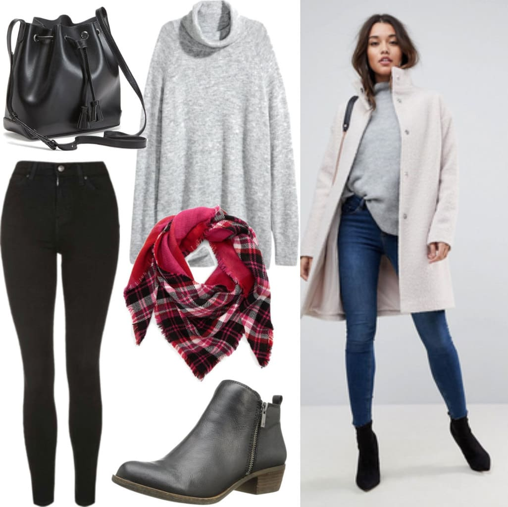 Winter outfit idea with cream wool coat, gray turtleneck sweater, black skinny jeans, black ankle booties, red plaid scarf, black bucket bag