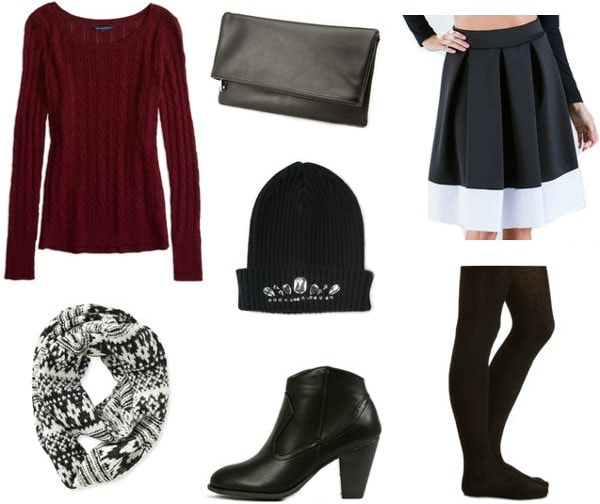Winter skirts going out look