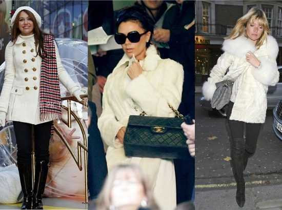Miley Cyrus, Victoria Beckham, and Kate Moss in Winter White