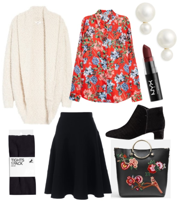 Winter work outfit: Cozy cardigan, printed button-down shirt, black midi skirt, ankle booties, embroidered tote bag, pearl earrings