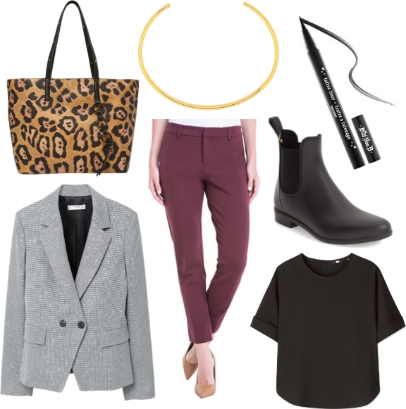 Winter work outfit: Plum skinny trousers, black tee shirt, gray blazer, ankle wellie boots, leopard print tote bag, black eyeliner