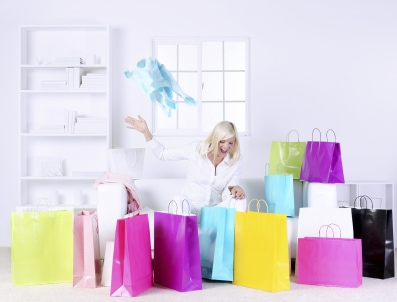 Woman opening presents