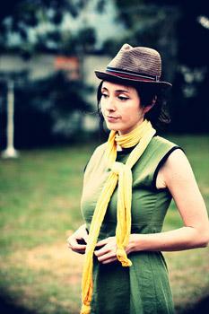 Woman wearing eco-friendly fashion items