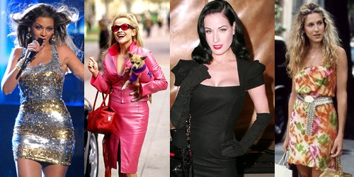 Women with unique senses of style - Elle Woods, Beyonce, Dita Von Teese, and Carrie Bradshaw
