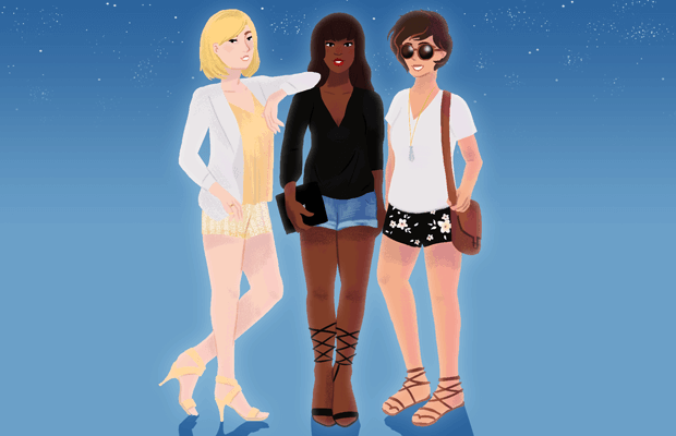Womens date night shorts outfits illustration Stacey Abidi