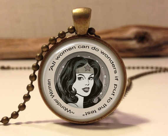 Wonder Woman quote necklace