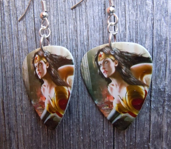 Wonder Woman guitar pick earrings