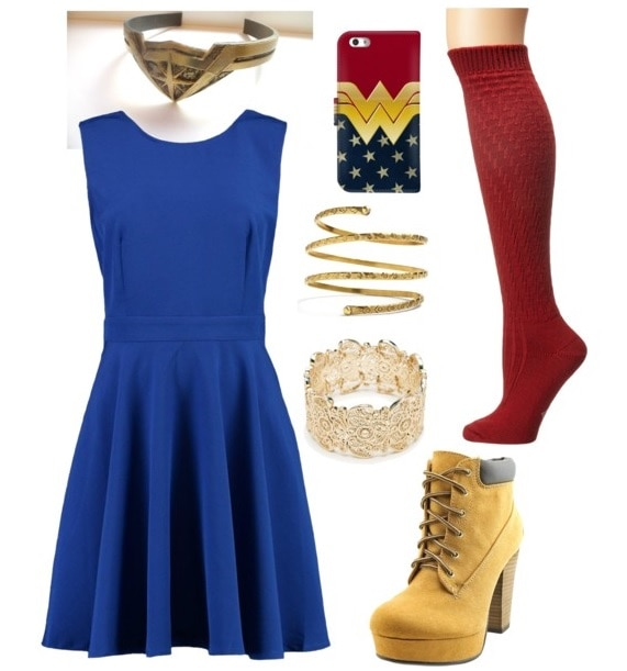 Best fictional female role models for college women: Diana AKA Wonder Woman. Outfit inspired by Diana with blue dress, Wonder Woman iPhone case, gold cuff bracelets, red stockings, lace-up work boots with a heel