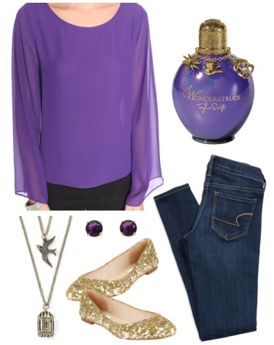 Outfit inspired by Taylor Swift's Wonderstruck - purple blouse, jeggings, sparkle flats