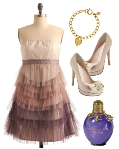 Outfit inspired by Taylor Swift's Wonderstruck - ruffle dress, bow pumps, charm bracelet