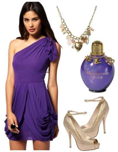 Outfit inspired by Taylor Swift's Wonderstruck - violet one-shoulder dress, glitter pumps, charm necklace