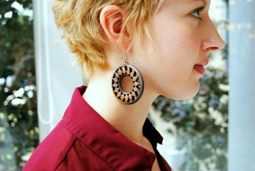 Wooden earrings student style