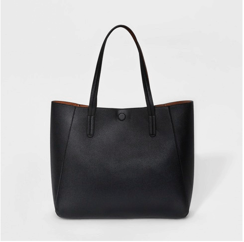 Photo of a black tote bag.