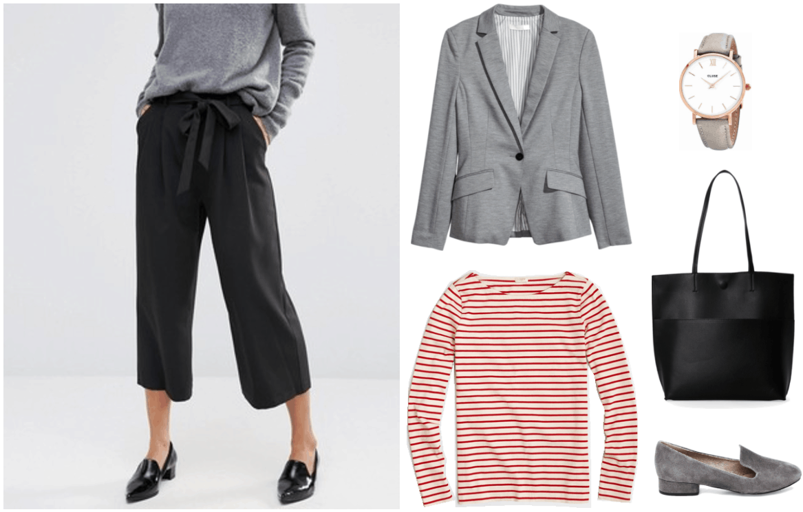 """How Do I Get Out of a Workplace Fashion Rut?"" outfit #2 featuring black tie-waist culottes, gray blazer, red-and-white striped long-sleeved t-shirt, gray and rose gold watch, black tote, and gray loafers"