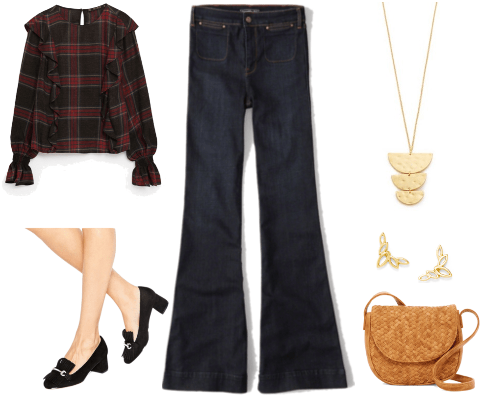 """How Do I Get Out of My Workplace Fashion Rut?"" outfit #4 featuring plaid frilled blouse, black heeled loafers, dark-wash flared jeans, gold pendant, gold ear crawlers, and cognac-brown saddle bag"