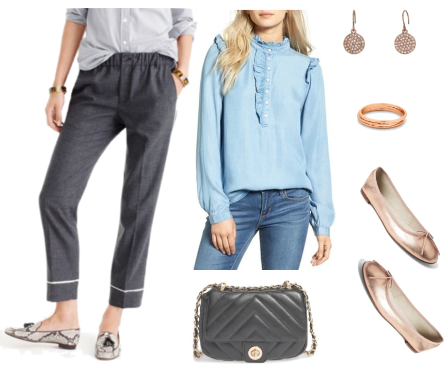 Work fashion outfit: Pajama style pants, chambray blouse, rose gold flats and jewelry, chain strap bag