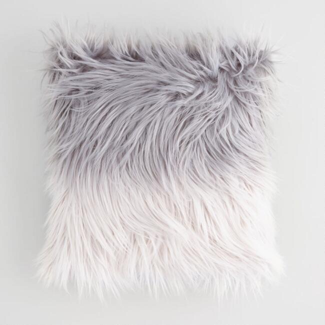 World Market grey and white ombre faux fur throw pillow decor.