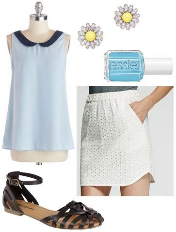 Woven sandals, peter pan collar blouse, eyelet skirt