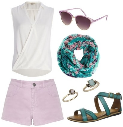 Wrap blouse, lilac shorts, printed scarf, teal sandals
