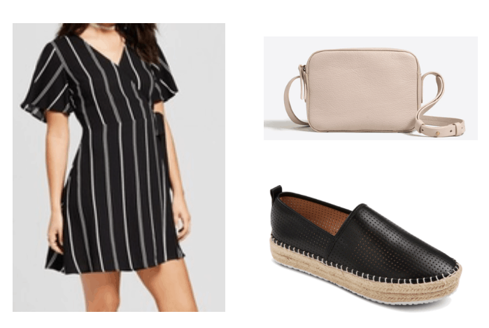 Cute and simple outfit idea: Black and white striped maxi dress with short sleeves and a wrap detail, black espadrille flats, nude crossbody bag