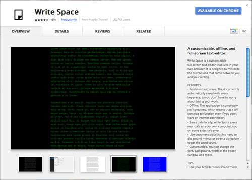 Write Space app for Chrome