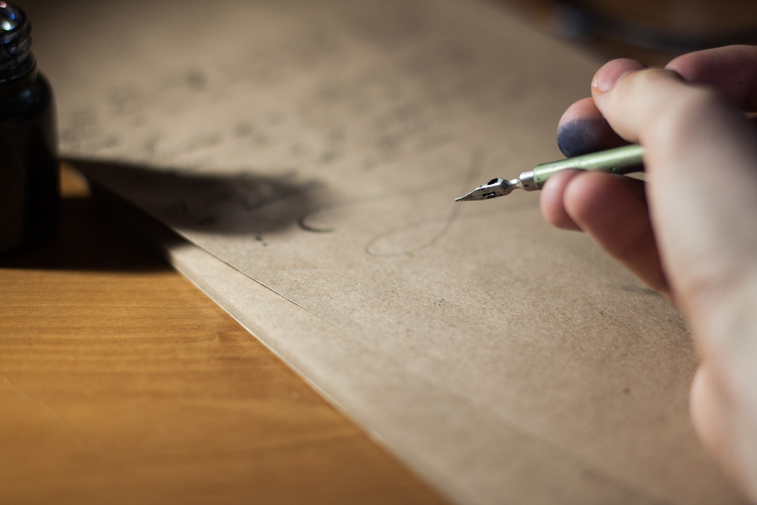 Writing long hand cursive