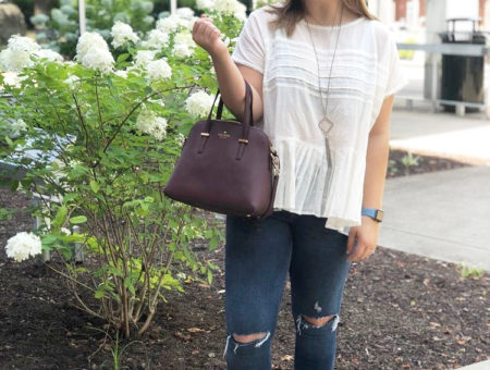 WVU fashion - Sarah wears a ruffle top, Kate Spade bag, Kendra Scott necklace, ripped jeans, and baby blue flats