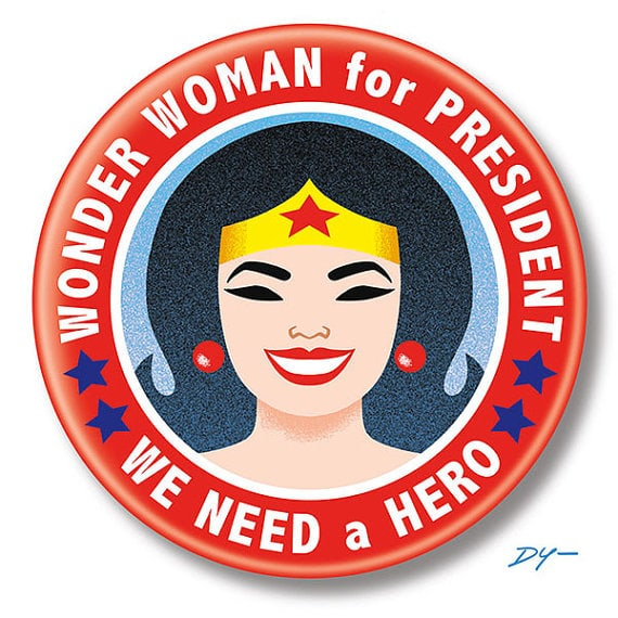 Wonder Woman for President button