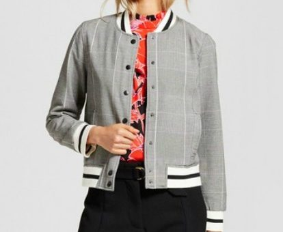 Target gray plaid bomber jacket