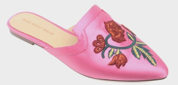 Target embroidered satin mules in pink